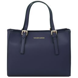 Aura Leather handbag Dark Blue TL141434