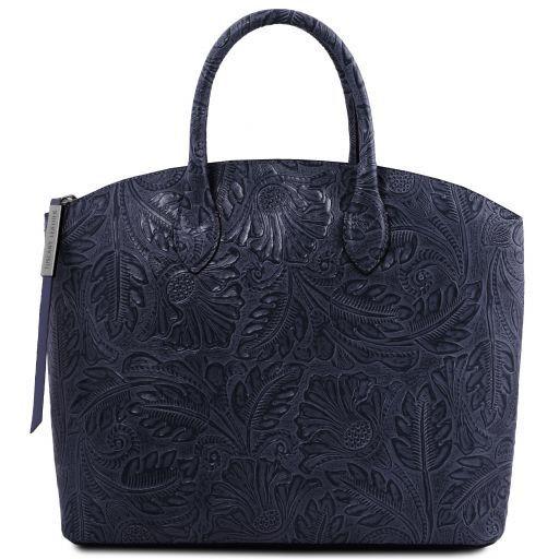 ed21ec2de54e7 Gaia Shopping Tasche aus Leder mit Blumenmuster Dunkelblau TL141670