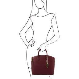 TL KeyLuck Shopper Tasche aus Saffiano Leder Bordeaux TL141261