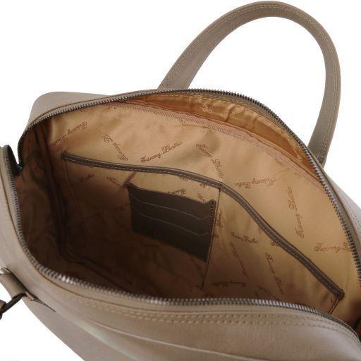 Urbino Maletín ordenador en piel para Saffiano con bolsillo delantero Marrón topo oscuro TL141627