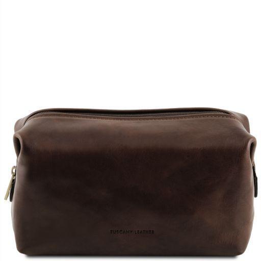 Smarty Reise- Kulturtasche aus Leder - Gross Dunkelbraun TL141219