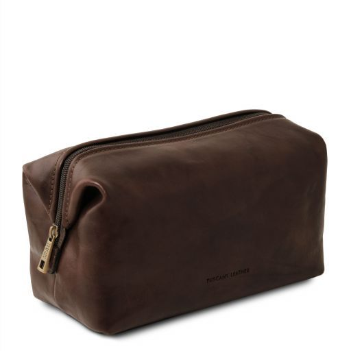 Smarty Leather toilet bag - Small size Dark Brown TL141220