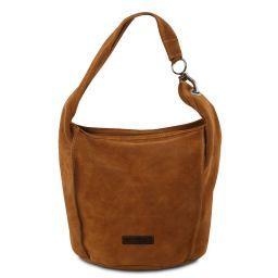 TL Bag Schultertasche aus Wildleder Cognac TL141754