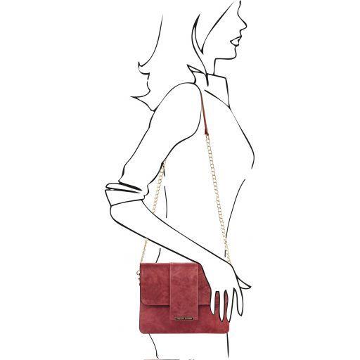 TL Bag Pochette in pelle con tracolla a catena Bordeaux TL141636