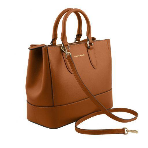 TL Bag Sac à main en cuir Saffiano Cognac TL141638