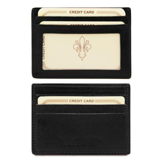 Esclusivo portacarte di credito in pelle con finestra Nero TL140805