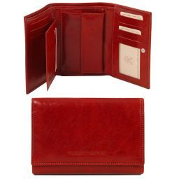 Exclusive 3 fold leather wallet for women Red TL141314