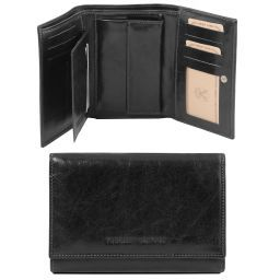 Exclusive 3 fold leather wallet for women Black TL141314