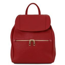 TL Bag Lederrucksack für Damen aus weichem Leder Rot TL141697