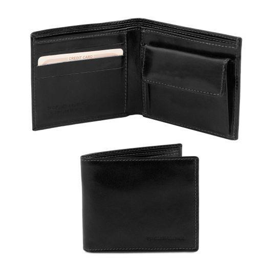 Esclusivo portafoglio uomo in pelle 2 ante con portaspiccioli Nero TL140761