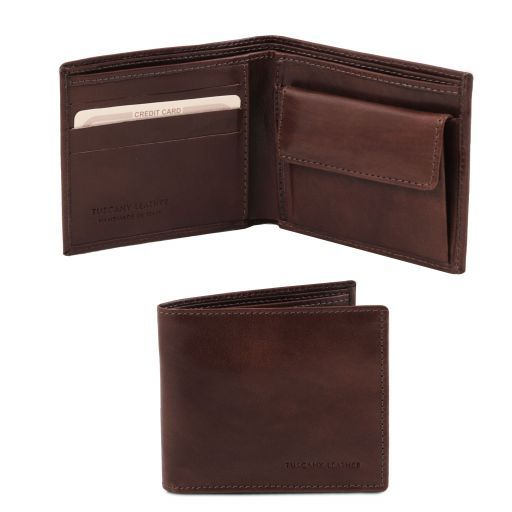 Exclusive 2 fold leather wallet for men with coin pocket Dark Brown TL140761