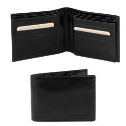 Exclusive 3 fold leather wallet for men Black TL140817