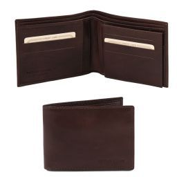 Exclusive 3 fold leather wallet for men Dark Brown TL140817