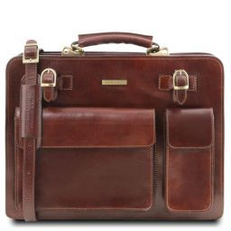 Venezia Leather briefcase 2 compartments Brown TL141268