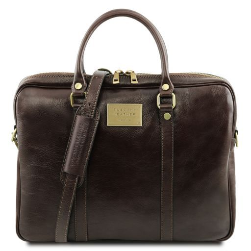 Prato Exclusive leather laptop case Dark Brown TL141283
