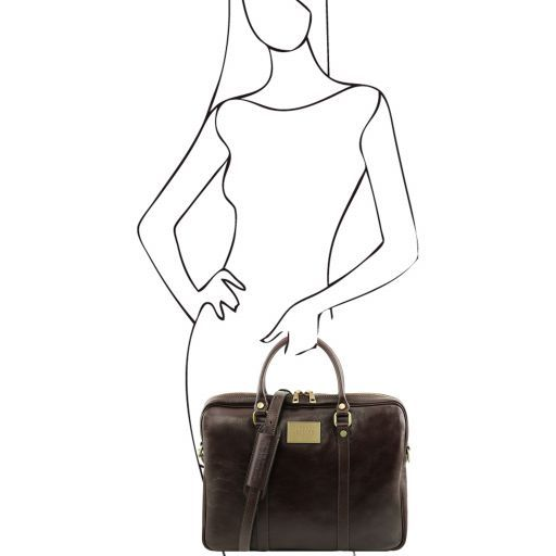Prato Exclusive leather laptop case Dark Brown TL141283