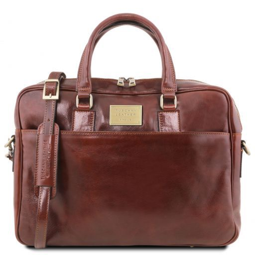 Urbino Leather laptop briefcase with front pocket Brown TL141241