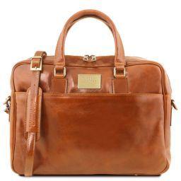 Urbino Notebook-Aktentasche aus Leder mit Vorderfach Honig TL141241