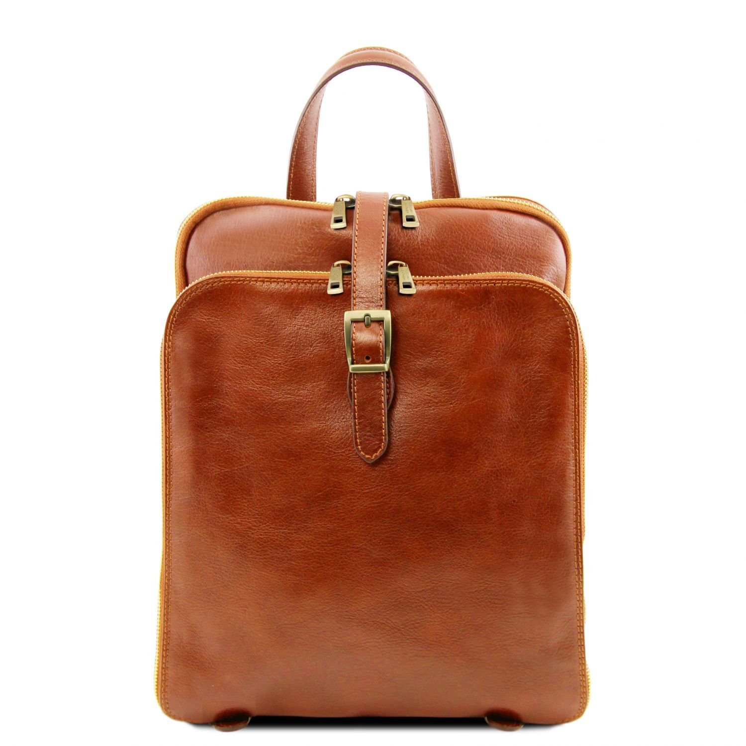 Bilde av 3 Compartments leather backpack Honey