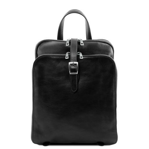 Taipei 3 Compartments leather backpack Black TL141239