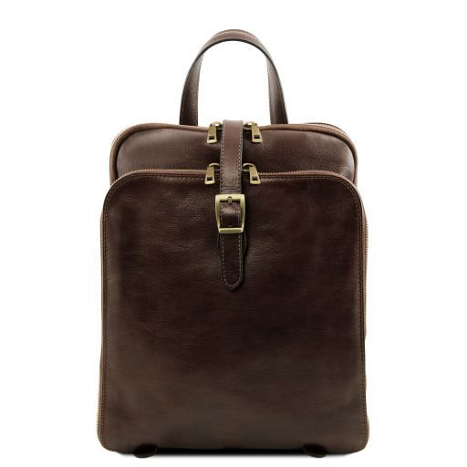 Taipei 3 Compartments leather backpack Dark Brown TL141239