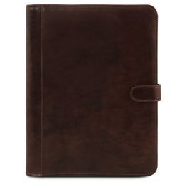 Adriano Leather document case with button closure Dark Brown TL141275