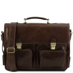 Ventimiglia Leather multi compartment TL SMART briefcase with front pockets Dark Brown TL141449