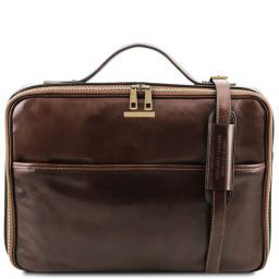 Vicenza Leather laptop briefcase with zip closure Dark Brown TL141240