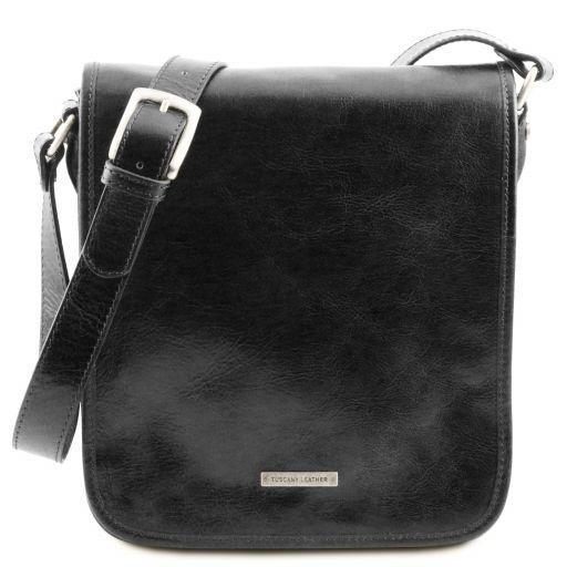 TL Messenger Two compartments leather shoulder bag Black TL141255