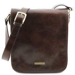 TL Messenger Two compartments leather shoulder bag Dark Brown TL141255