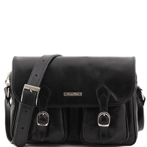 0d2fc701b51c San Marino Travel Leather bag With Pockets on the Front Side Black TL10180