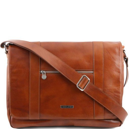 TL Dynamic Borsa business in pelle con zip frontale Miele TL141252