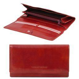Esclusivo portafogli in pelle da donna con soffietti Rosso TL140787