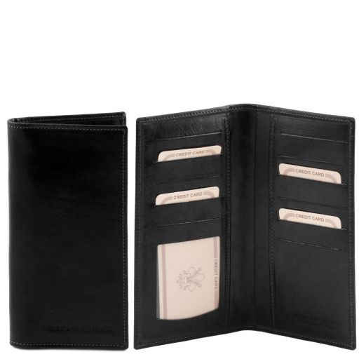 Exclusive leather 2 fold vertical wallet Black TL140784