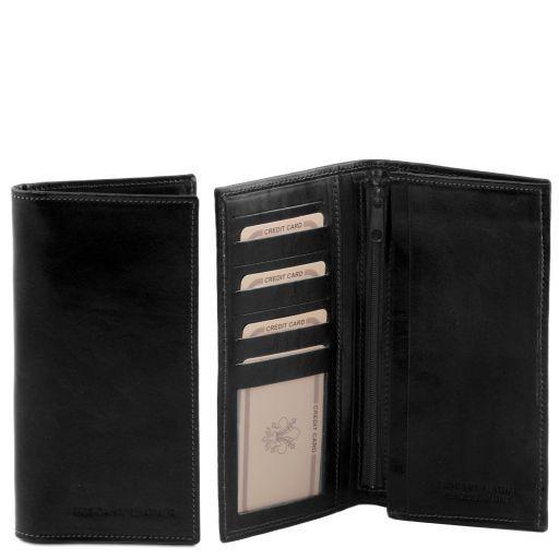 Эксклюзивный вертикальный кожаный бумажник двойного сложения Черный TL140777