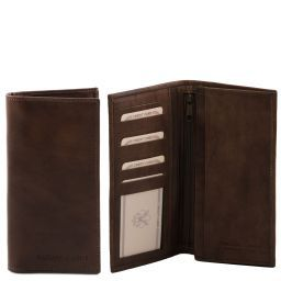 Exclusive vertical 2 fold leather wallet for men Dark Brown TL140777