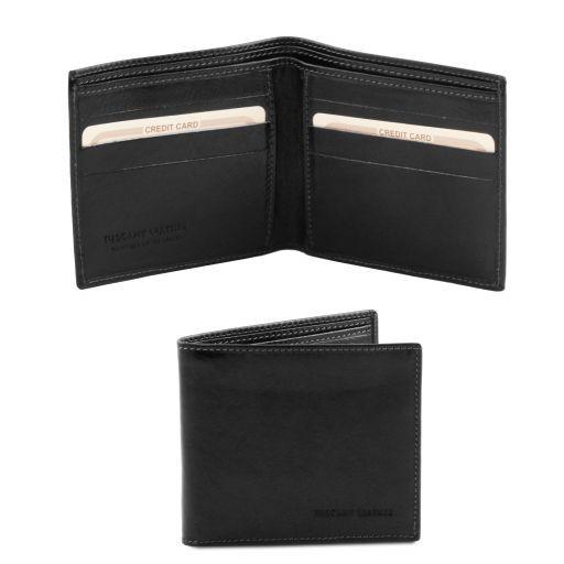 Elégant portefeuille en cuir pour homme 2 volets Noir TL140797