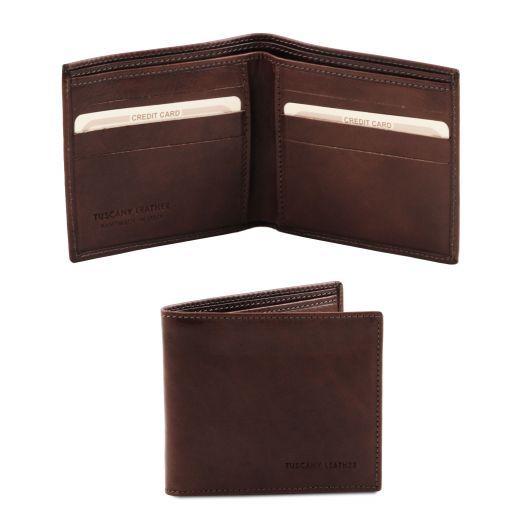 Elegante cartera de señor en piel Marrón oscuro TL140797