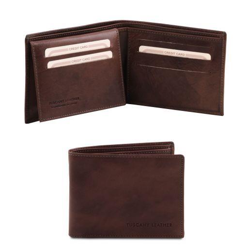 Эксклюзивный кожаный бумажник тройного сложения для мужчин Темно-коричневый TL140760
