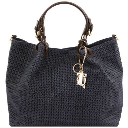TL KeyLuck Woven printed leather TL SMART shopping bag - Large size Dark Blue TL141568