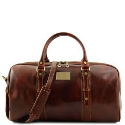 Francoforte Exclusive Leather Weekender Travel Bag - Small size Brown TL140935