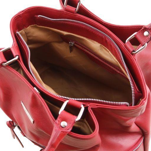 TL Bag Borsa a spalla in pelle con tasche frontali Rosso TL141722