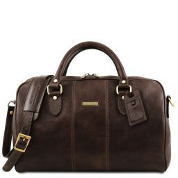 Lisbona Travel leather duffle bag - Small size Dark Brown TL141658