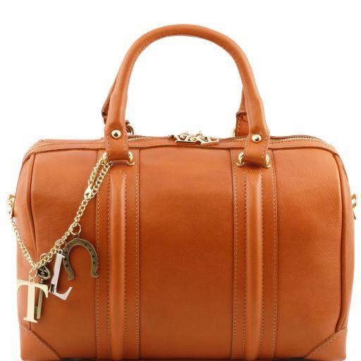 TL KeyLuck Bauletto in pelle morbida con accessori color oro Cognac TL141284