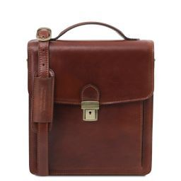 David Leather Crossbody Bag - Small size Brown TL141425