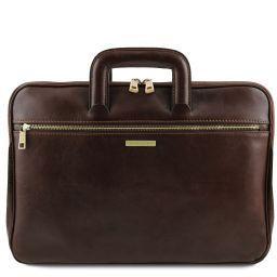 Caserta Document Leather briefcase Dark Brown TL141324
