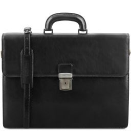 Parma Leather briefcase 2 compartments Black TL141350