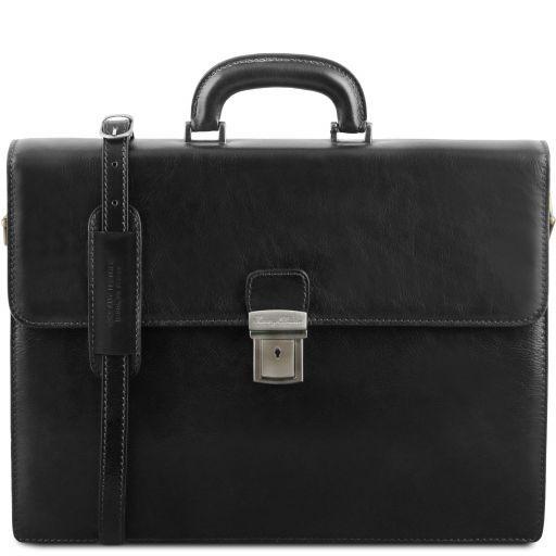 Parma Leather briefcase 2 compartments Black TL141350