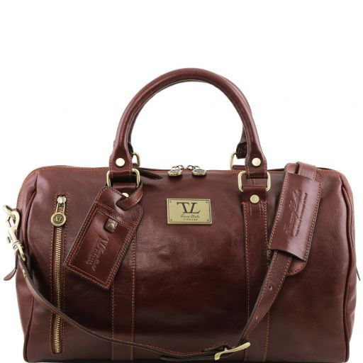 TL Voyager Travel leather duffle bag with front pocket Brown TL141303