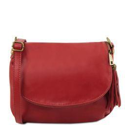 TL Bag Sac bandoulière besace en cuir souple avec pompon Rouge TL141223